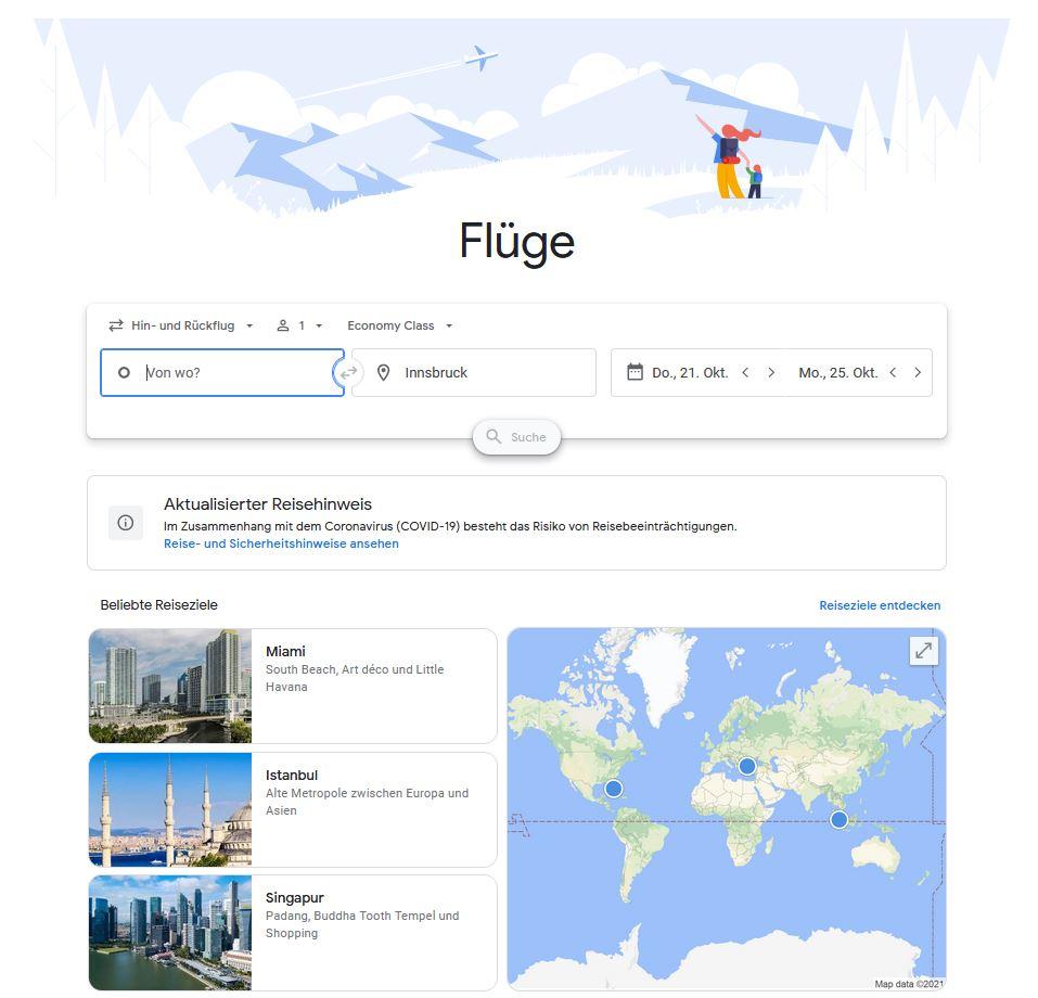 """Dashboard """"Flüge"""" von google.com/travel"""