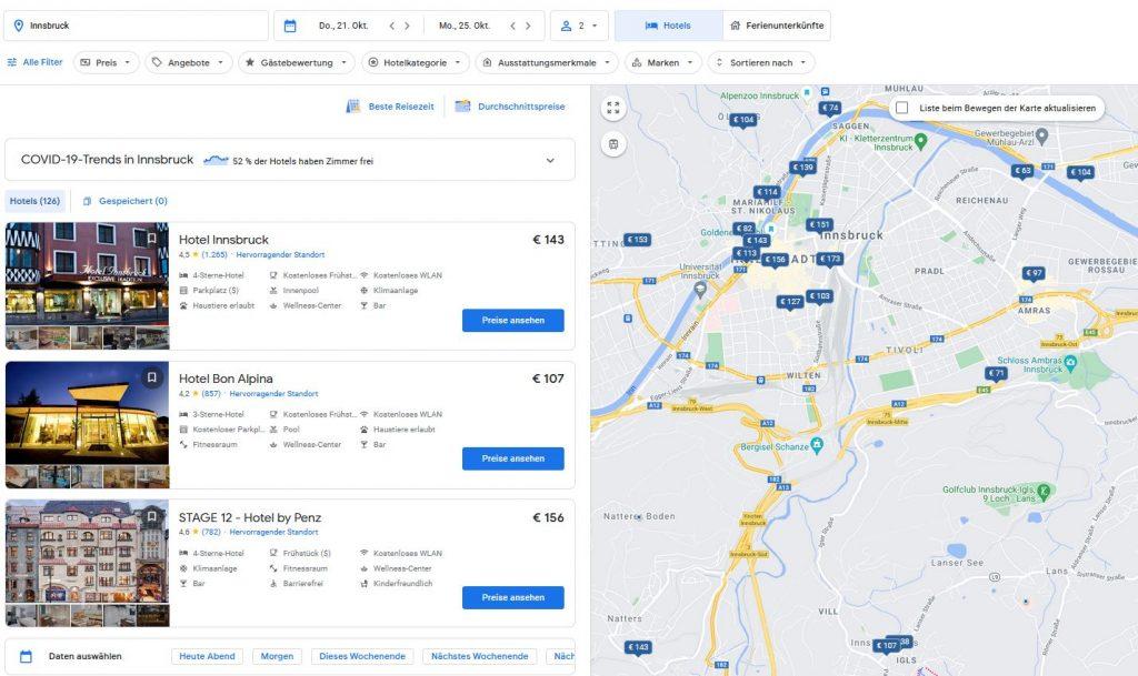 """Dashboard """"Hotel"""" von google.com/travel"""